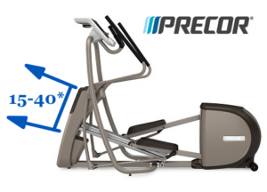 The Precor EFX series of ellipticals have an adjustable angle ramp for crosstraining a variety of different muscles.